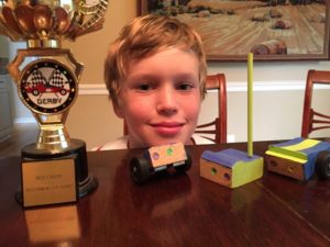 Ben pinewood derby trophe and car